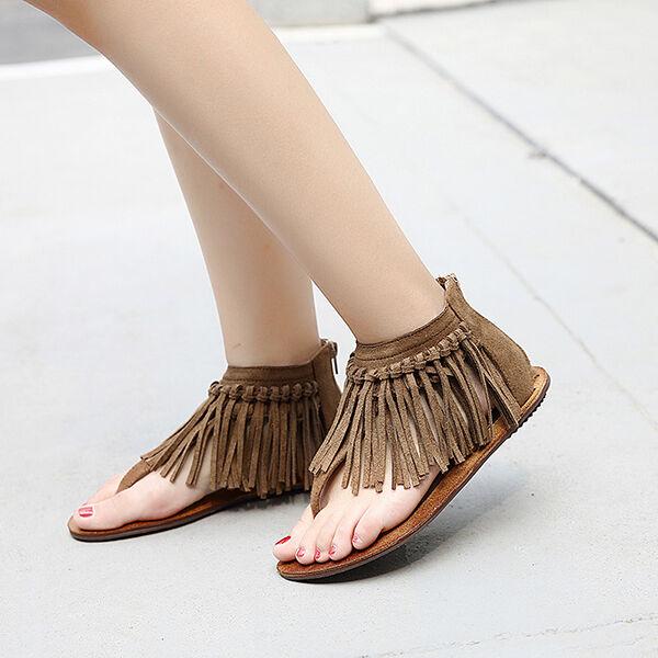 Women's sandals low heel flip-flops slippers brown fringes like leather CW933