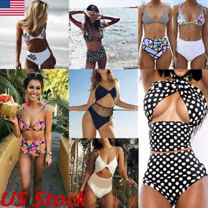 Women-High-Waisted-Bikini-Set-Push-Up-Padded-Swimsuit-Beachwear-Swimwear-Bathing