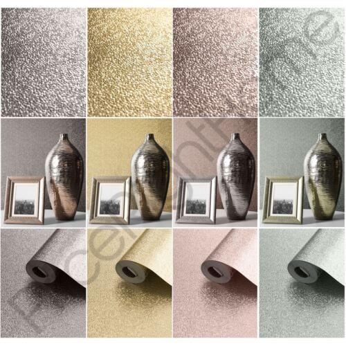 Muriva amelia métallique texturé papier peint gris rose argent or rose duck egg
