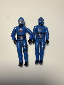 2x-GI-Joe-1983-COBRA-COMMANDER-V1-5-Vintage-Hasbro-Original-Swivel-Arm-broken