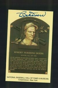 Bobby Doerr Boston Red Sox Signed Gold HOF Plaque Postcard W/Our COA C