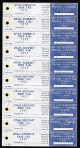 USA-Utah-1951-Resident-5-00-Fishing-and-Hunting-Mint-Deer-License-in-Pane-of-10