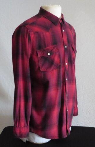 grande vaquera Camisa larga perla cuadros botones manga Co Roebuck roja la parte en a delantera con y wOwUHnqza