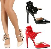 Qupid Pointy Toe Bow Mary Jane Pump High Heel Black Nude Red Women's Shoe Virtue