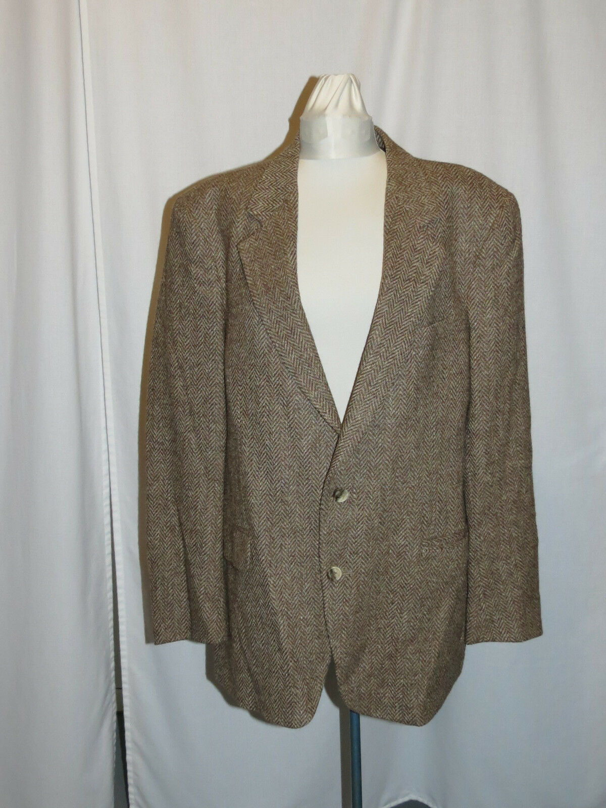 VTG DON ROBBIE MENS HERRINGBONE WOOL BLAZER SPORT COAT 42 WIND ROLLUP COLLAR