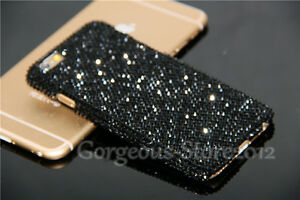 Luxury Bling Black Diamond Real Crystal Case PC Cover For iPhone 5 ... 143339940117