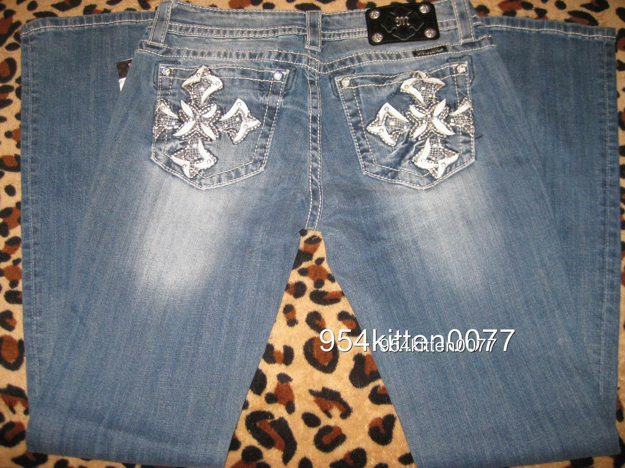 WOW LIMITED EDITION MISS ME RARE LEATHER CROSS RHINESTONE BOOT CUT JEANS 28