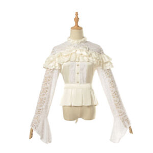 Renaissance-Retro-Victorian-Blouse-Hollow-Lace-Shirt-Tops-Gothic-Lolita-Shirts