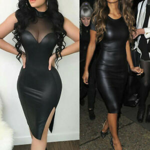 Women-Leather-Midi-Dress-Ladies-Mesh-Sheer-Sleeveless-Bodycon-Pencil-Slim-Dress
