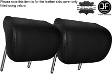 BLACK STITCHING 2X REAR HEADREST LEATHER SKIN COVERS FITS AUDI A4 B8 2008-2013