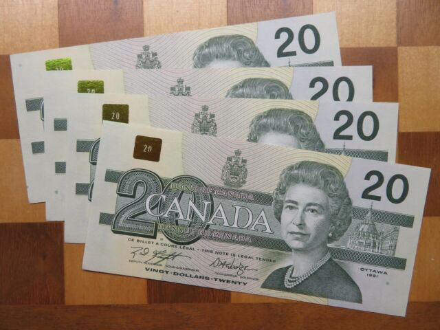 20$ Dollars Canadian 1991 x4 Consecutive - Uncirculated - Crispy AYK