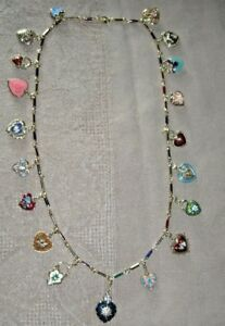AWESOME-Vintage-Joan-Rivers-25-034-Hearts-And-Flowers-Necklace-19-Charms-NWOB