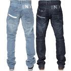 New Mens ENZO Regular Leg Straight Fit Stonewash Denim Blue Jeans 28-42