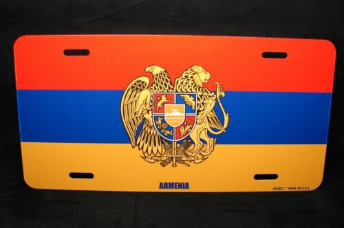ARMENIAN FLAG WITH COAT OF ARMS METAL NOVELTY LICENSE PLATE FLAG OF ARMENIA