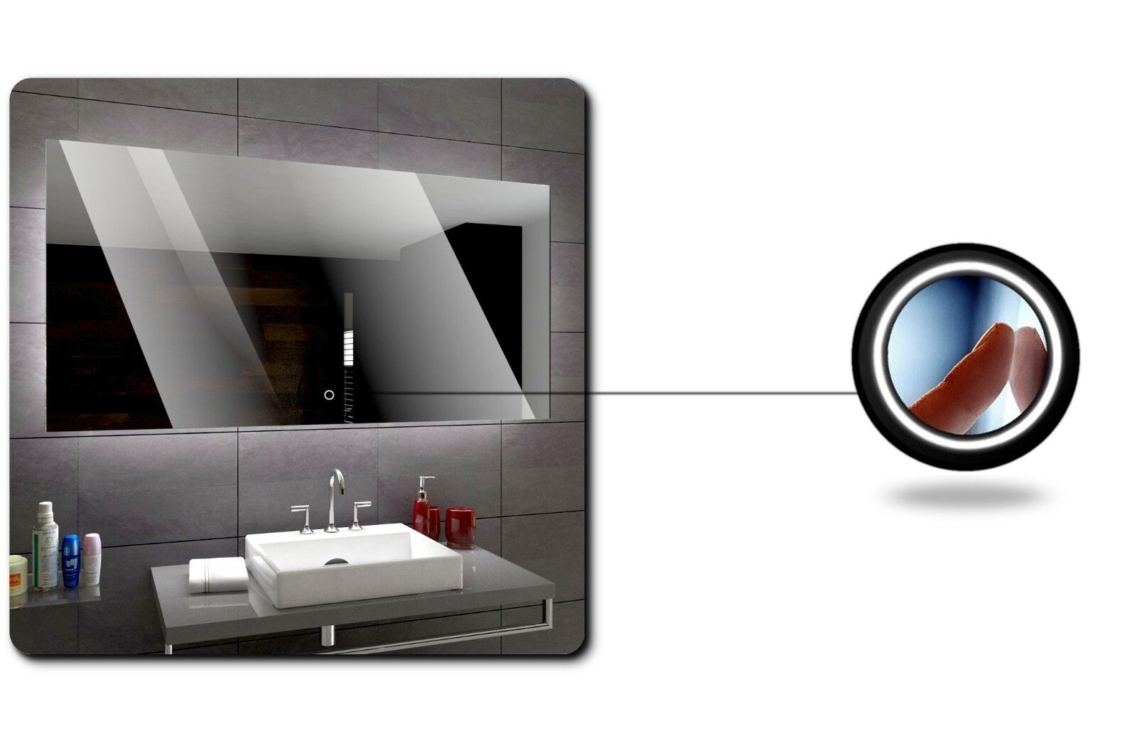 Seattle illuminato led specchio del bagno bagno bagno interruttori