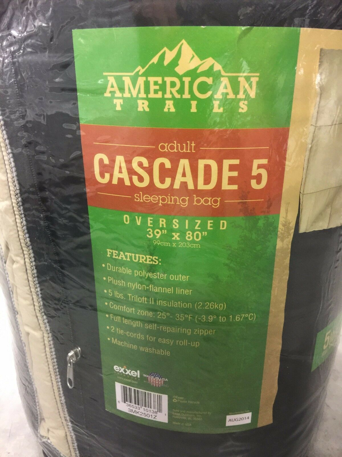 AMERICAN TRAILS CASCADE 5 OVERSIZED ADULT 39 X 80 SLEEPING BAG CAMPING OUTDOOR