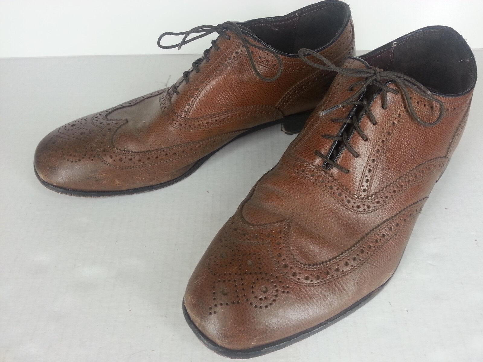 Mens Florsheim Lexington Wing tip Lace up Leather shoes 17066-221 Brown 11D