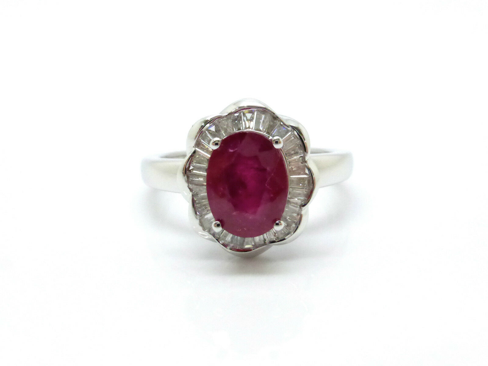 RING WHITE gold 18K 750 000 RUBY 1.19 CARAT & DIAMONDS 3.89 GRS T55 D25530