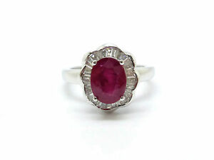 BAGUE-OR-BLANC-18-CARATS-750-000-RUBIS-1-19-CARAT-amp-DIAMANTS-3-89-GRS-T55-D25530