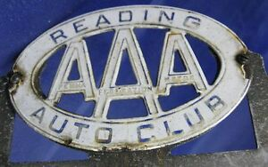 Vintage Porcelain License Plate Aaa Pa Federation Motor Auto Club Reading