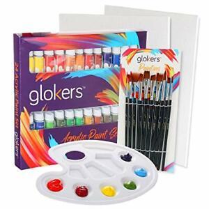 Acrylic-Paint-Set-24-Rich-Pigments-Colors-amp-10-Paintbrushes-2-Pcs-Canvas-Panels