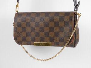 Auth-LOUIS-VUITTON-Favorite-PM-Chain-Shoulder-Hand-Bag-Damier-Ebene-N41276-V4065
