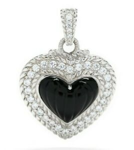 Black Onyx Twist Pendant Necklace in Sterling Silver with Cubic Zirconia