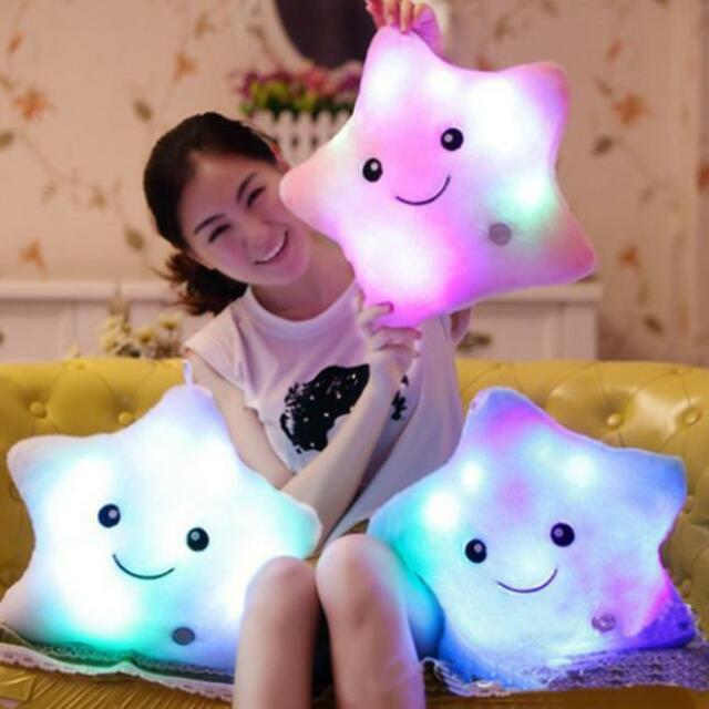 Star Shaped Glowing LED Pillow 7 Color Changing Light Up Soft Zipper Cushion RO Home Decor