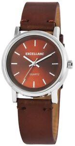 Excellanc-Damenuhr-Braun-Silber-Analog-Kunst-Leder-Armbanduhr-X195027000204