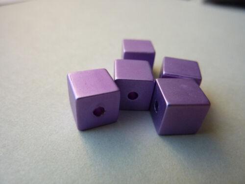 5 Aluminium Cube Perles anodisé 8 mm 2555