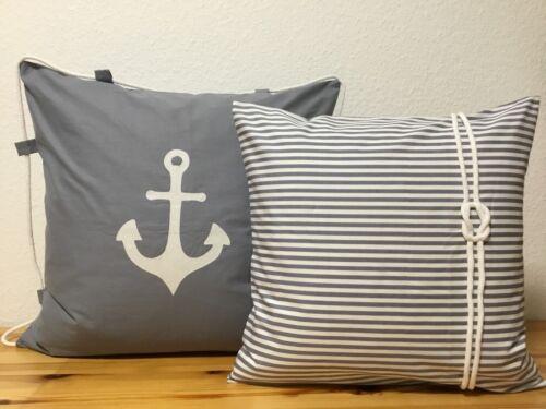 1Kissenhülle Maritim *Seemannsknoten grau//weiß gestreift 40x40 Kissenbezug