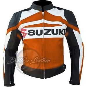 New SUZUKI GSX Motorbike Biker Racing Orange Leather Jacket for motorcyclist