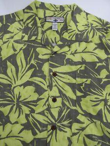Caribbean-Joe-Mens-Shirt-Hawaiian-Aloha-Green-Floral-100-Rayon-Size-L