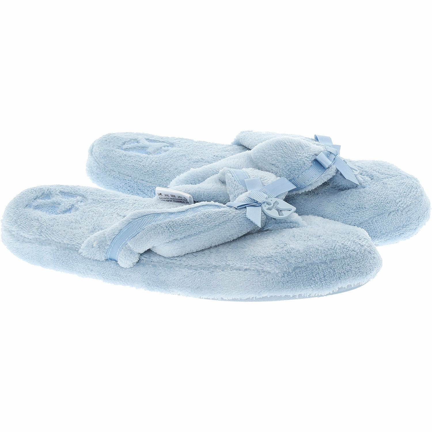 Bedroom Athletics Slippers Powder Blue Thongs Style with a Bow size UK 7 - New