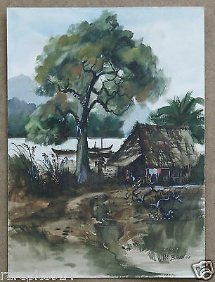 Vietnamese Artist Boonlue Landscape Vintage  Watercolor Hand signed Painting 60s