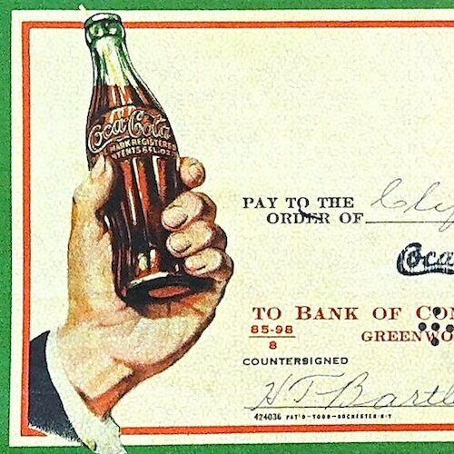 COCA-COLA COKE SODA Hand on Bottle NOS Used Stamped Check 1940s