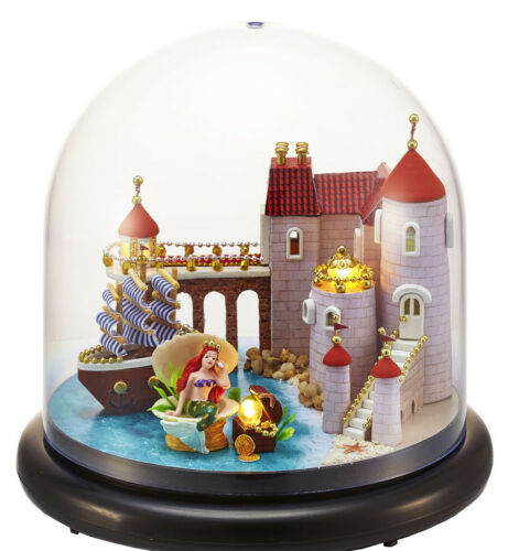 Sweet Mermaid Dollhouse Miniature in crystal ball w//Lights and music B-013