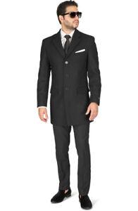 Slim-Fit-Mens-Long-Wool-Blend-Top-Trench-Overcoat-Single-Breast-Notch-Lapel-AZAR