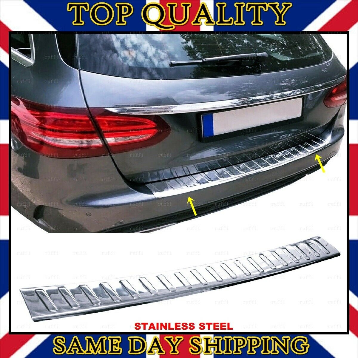 For C class S205 W205 Estate Stainless Steel CHROME Rear Bumper Protector Sill Scratch Guard Cover 2014+