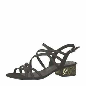 d80633ea0a199 Women's Marco Tozzi Black Combi Glitter Low Block Heel Strappy ...