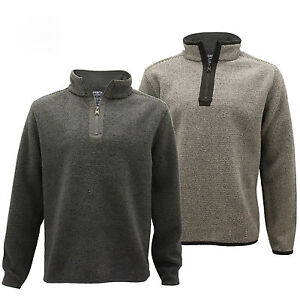Mens-Micro-Fleece-Marl-Half-Zip-Up-Funnel-Neck-Sweater-Pullover-Jumper-Top