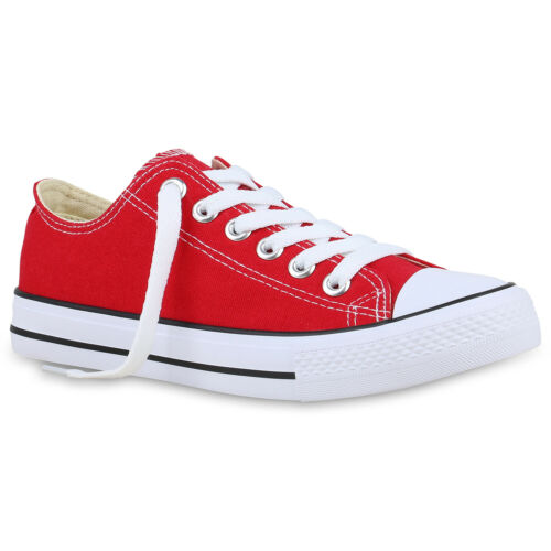 896177 Damen Sneaker Low Basic Canvas Turnschuhe Schnürer Freizeit Schuhe Hot