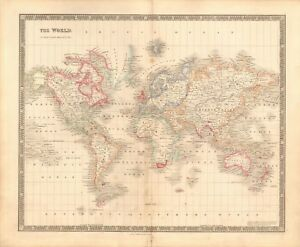 1843-ANTIQUE-MAP-DOWER-THE-WORLD-ON-MERCATOR-039-S-PROJECTION