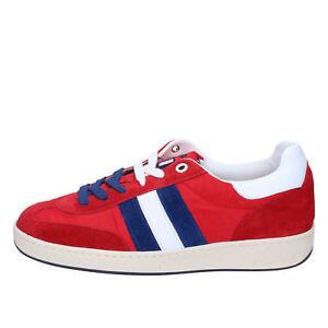 scarpe-uomo-D-039-ACQUASPARTA-41-EU-sneakers-rosso-camoscio-tessuto-AB907-C