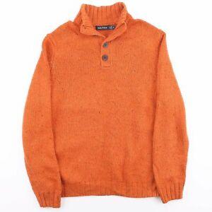 Vintage Nautica orange Strick 1/4 Knopf Kragen Wolle mix Pullover Herren Größe M