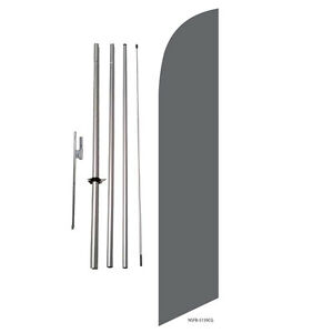 Solid Gray Grey Feather Banner Swooper Flag Kit with pole+spike