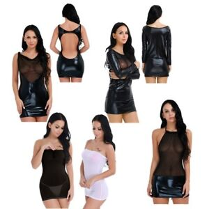 Women-039-s-Lingerie-Mesh-Leather-Dress-Shiny-Wet-Look-Club-Wear-Sleepwear-G-string