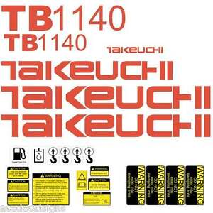TB1140 Decals Takeuchi Mini Excavator repro Decal Set TB1140 stickers kit