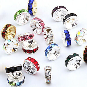 Wholesale-100Pcs-Silver-Plated-Crystal-Rhinestone-Rondelle-Spacer-Beads-8mm