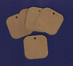 100-Blank-1-5-034-Rounded-Square-Handmade-Kraft-Hang-Tags-Gift-Price-Cardstock